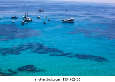 LAMPEDUSA, ITALY - AUGUST, 03: View of the turquoise water in the Lampedusa sea on August 03, 2018