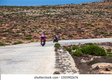 LAMPEDUSA, ITALY - AUGUST, 04: Bikers along the Lampedusa road the summer season on August 04, 2018