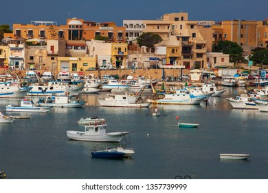 LAMPEDUSA, ITALY - AUGUST, 05: View of the Lampedusa old port on August 05, 2018