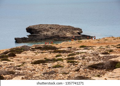 LAMPEDUSA, ITALY - AUGUST, 05 View of Lampedusa beach , Sicilian island in the middle of mediterranean sea on August 05, 2018