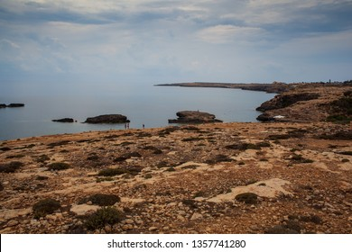LAMPEDUSA, ITALY - AUGUST, 05 View of Lampedusa coast , Sicilian island in the middle of mediterranean sea on August 05, 2018