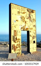 lampedusa, italy - august 28 2010: the door of europe monument, in honour of the inmigrants victims of the see in lampedusa