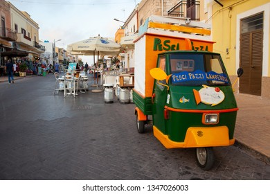 LAMPEDUSA, ITALY - JULY, 31: View of  traditional italian three-wheeled called Ape Piaggio used to selfresh fish in Lampedusa on July 31, 2018