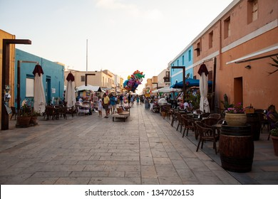 LAMPEDUSA, ITALY - JULY, 31: View of Lampedusa street, Sicilian island in the middle of the mediterranean sea on July 31, 2018