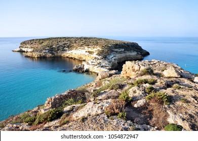 Lampedusa, Italy, The Rabbit Beach in Lampedusa, Pelagie islands
