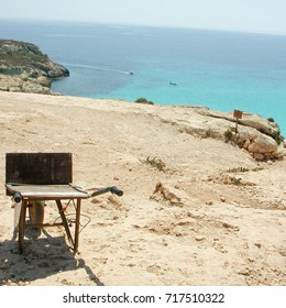 Lampedusa, Italy - September 02, 2002: Cart used for transportation to Rabbits beach