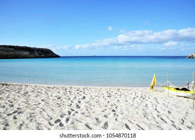 Lampedusa, Italy, Sunrise in the Rabbit Beach in Lampedusa, Pelagie islands