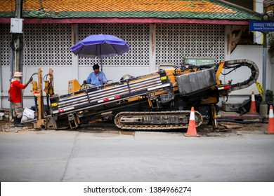 LAMPHANG THAILAND - April 28,2019 : Horizontal directional drilling machine , is a machine for installing underground pipes and conduits along a prescribed bore path from the soil surface.