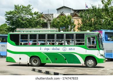 LAMPHUN /  THAILAND - July 12 2008 :  Cooperative Limited passenger Lamphun bus company Bus route Chiangmai -Lamphun-Lee.  Photo at  Lamphun bus station, thailand.