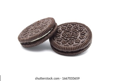LAMPHUN, THAILAND - MARCH 3, 2020: Oreo Biscuits isolated on white background. It is a sandwich chocolate cookies with a sweet cream is the best selling dessert in Thailand.