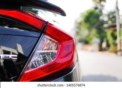 Lamphun, Thailand- May 20, 2019 Closeup car auto sport  tail light. Technology light design.Honda civic tail light model.