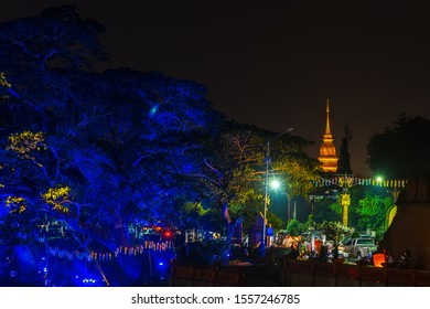 LAMPHUN, THAILAND - NOVEMBER 10, 2019 : Symphony of Lights is the spectacular light and sound show at City Wall beside the river near Wat Phra That Hariphunchai Temple for celebration in Loy Krathong