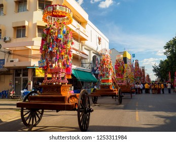 LAMPHUN, THAILAND- SEPTEMBER 24, 2018. Salak Yom Procession the only one annual great festival in the world at Wat Prathat Hariphunchai, Lamphun, Thailand, started on September