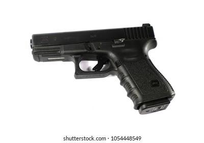 Lamphun,Thailand 26 March 2018 : Gun Glock 19 semi 9x19mm pistol isolated on white