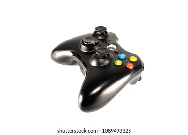 Lamphun,Thailand - May 13, 2018: The Microsoft Xbox 360 Controller wireless , a gamepad for the Xbox, isolated on white background.