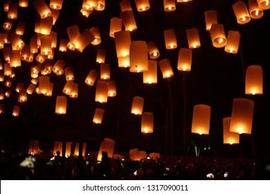 Lampion terbang or sky lantern buddhist culture borobudur vesak night