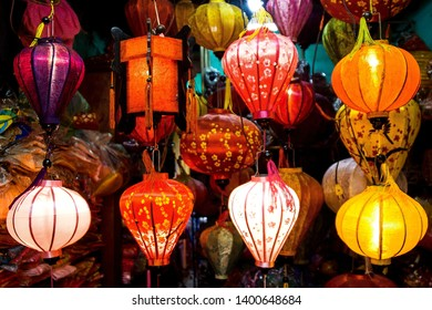 Lampions in Hoi An City in the night, Hoi An, Vietnam, Asia