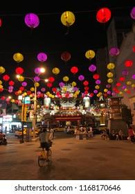 Lampions on street in Taipei, Taiwan
