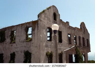 Lamppost at Alcatraz warden ruins