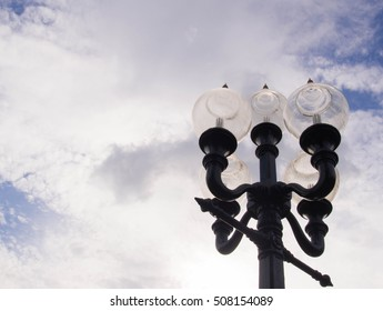lamppost with blue sky The nostalgic old story
