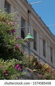 Lamppost detail  at Alcatraz penitenziary San Francisco