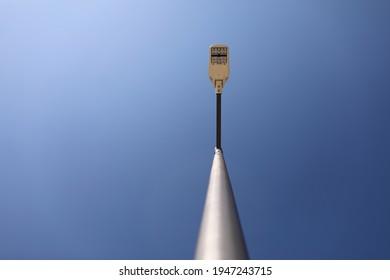 Lamppost on blue sky background. modern lamppost. copy spece.