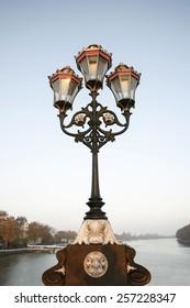 Lamppost  on Putney Bridge, morning,  London