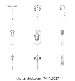 Lamppost in retro style,modern lantern, torch and other types of streetlights. Lamppost set collection icons in outline style bitmap symbol stock illustration web.