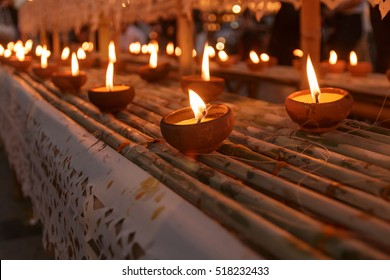 Lamps and candles used at Loy krathong festival, Night background