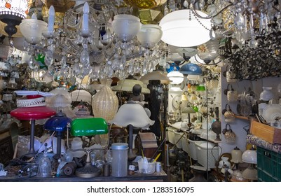 Lamps, fixtures and lamp shades for sale at old Jaffa Flea Market