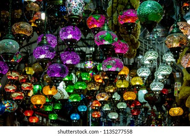 lamps hanging from the ceiling at Grand Bazar in Istanbul