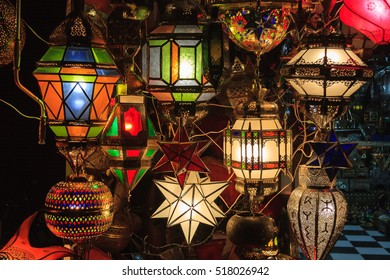 Lamps in a market. Marrakech. Morocco