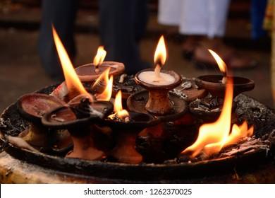 the lamps offered to the hindu goddess Kali at Durbar Square, katmandu, Nepal.