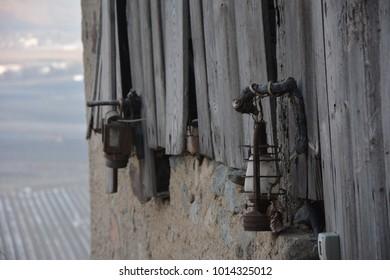 lamps at old barn