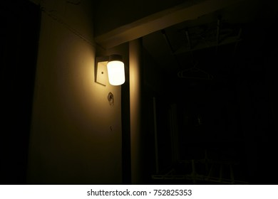 Lamps on the terrace at night