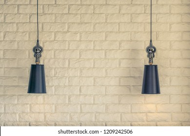 Lampshade on a brick wall background