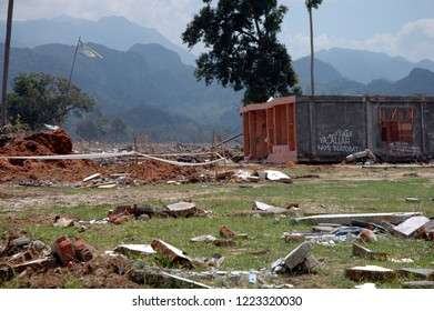 Lampuuk, Aceh Besar, Aceh, Indonesia - February 9, 2005 : Demaged house and village. Indian Ocean Earthquake and Tsunami disaster Destroyed Aceh in December 26 2004