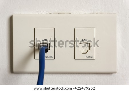 Cable Wall Outlet : Lan cable plug wall outlet stock photo edit now 422479252