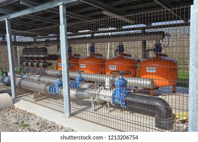 Lana, Italy - April 09, 2016: filter system for drip irrigation has been rebuilt
