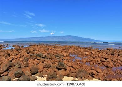 Lanai beach where you can see Molokai.