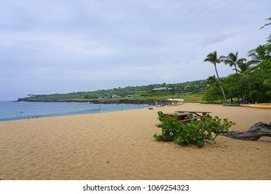 LANAI, HAWAII -31 MAR 2018- View of the Hulopoe Beach, next to the Four Seasons Resort Lanai, on the Pacific Ocean. It is common to see spinner dolphins in the water.