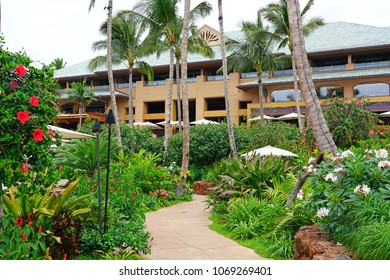 LANAI, HAWAII -31 MAR 2018- Exterior view of the Four Seasons Resort Lanai, an upscale luxury hotel next to Hulopoe Beach on the Pacific Ocean entirely renovated in 2016.