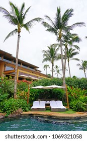 LANAI, HAWAII -31 MAR 2018- View of the Four Seasons Resort Lanai, an upscale luxury hotel next to Hulopoe Beach on the Pacific Ocean entirely renovated in 2016.
