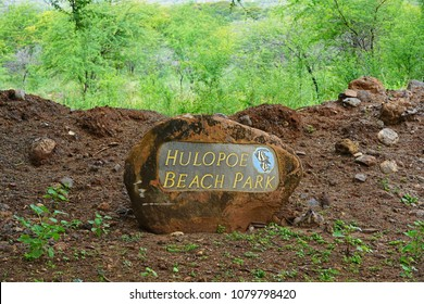 LANAI, HAWAII -31 MAR 2018- View of a sign for the Hulopoe Beach Park, next to the Four Seasons Resort Lanai, on the Pacific Ocean.