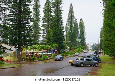 LANAI, HAWAII -31 MAR 2018- View of the center of Lanai City, former home of the Dole Plantation on the island of Lanai, HI.