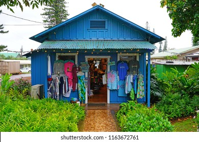 LANAI, HAWAII -31 MAR 2018- View of a building in the center of Lanai City, former home of the Dole Plantation on the island of Lanai, HI.