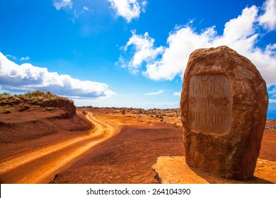 Lanai, Hawaii.  Garden of the Gods.  Dirt road and rock.