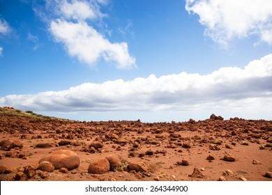 Lanai, Hawaii.  Garden of the Gods.  Red rocks and blue sky.  Looks like Mars