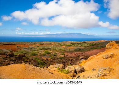 Lanai, Hawaii.  Garden of the Gods.  Red rocks and blue sky.