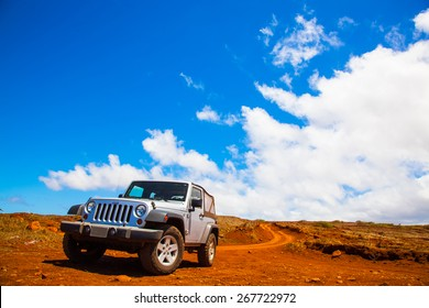 Lanai, HW - September 2, 2013 - Offroading through the Garden of the Gods in a Jeep Wrangler in Lanai.